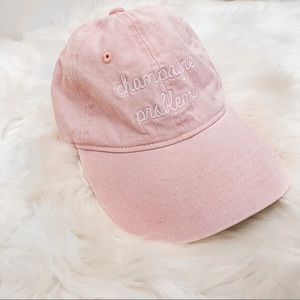 Champagne problems pink denim dad hat